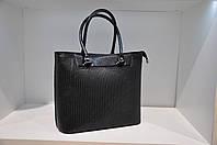 Кожаная сумка женская черная с тиснением косы 0085-989