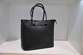 Кожаная сумка женская черная с тиснением косы 0085-989, фото 2