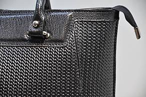 Кожаная сумка женская черная с тиснением косы 0085-989, фото 3