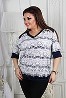 Женская блуза. Размер универсальный 56-58 и 60-62. Масло. Серый. , фото 1
