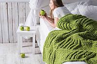 Вязаный плед ручной работы Cubes 130*180 см, цвет Зеленое Яблоко , фото 1