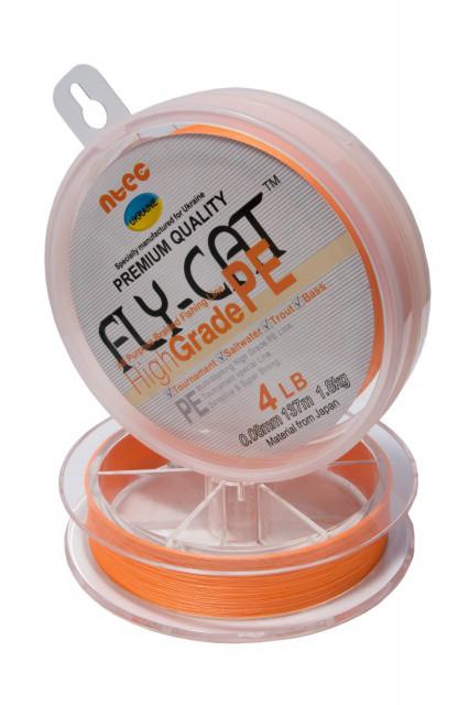 Шнур плетений NTEC Fly-Cat Orange 274м, Ø0.18мм, 11.3 кг