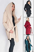 Кашемировое пальто с широким капюшоном