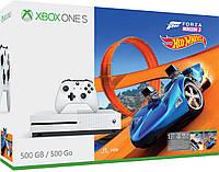 Новая игровая приставка XBOX ONE S 500GB White+игра Forza Horizon 3 Hot Wheels