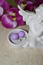 Серьги DIOR Pearl фиолетовый со стразами