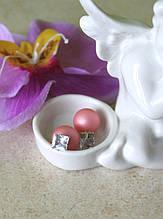 Серьги Mise en Dior (персиковые с кристалом)
