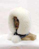 Меховой платок - шарф из песца и норки (белый)