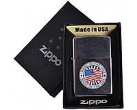 Зажигалка фирменная, брендовая бензиновая Zippo в подарочной упаковке №4741-3 + бензин в подарок 125мл.