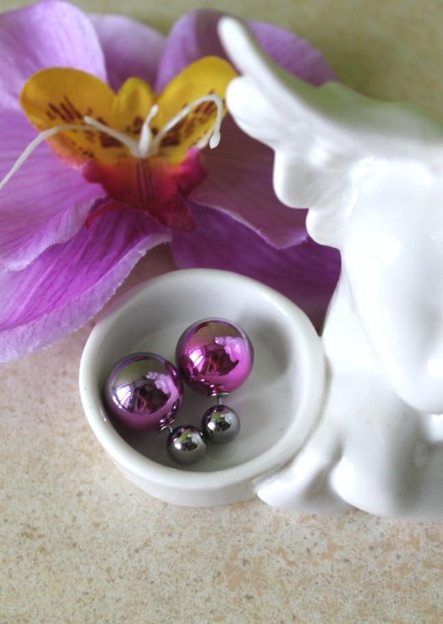 Серьги Mise en Dior (серо-розовый градиент)