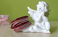 Кожаный браслет на 2 оборота со стразами Swarovski (красный)