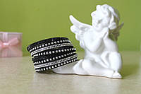 Кожаный браслет на 2 оборота со стразами Swarovski (черный)