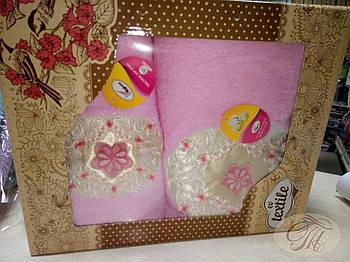Набір махрових рушників 2 шт Зірка яскраво рожевому