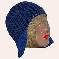 Женская вязаная зимняя шапка-ушанка с элементами кожи васильковогоцвета