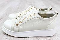 Туфли бежевые на шнурках дутая подошва