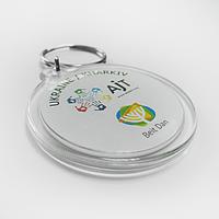 Акриловый брелок на кольце круглый 45х50 мм c картинкой, логотипом, фото , фото 1