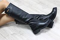 Зимние натуральные кожаные сапоги трубы без замка черные на толстой подошве