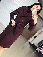 """Женское демисезонное пальто с поясом """"Виктория"""". Ткань: кашемир. Размер: 42,44,46,48,50."""