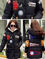 Куртка зимняя женская пуховик с аппликацией (черная)