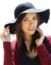 Шляпа женская фетровая с широкими полями (черная)