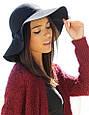 Фетровий капелюх жіночий з широкими полями (чорна), фото 2