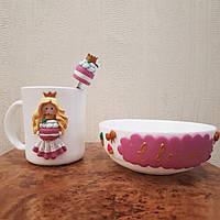 Набор посуды с декором из полимерной глины «Завтрак с Евочкой» Подарок девочке на 8 марта