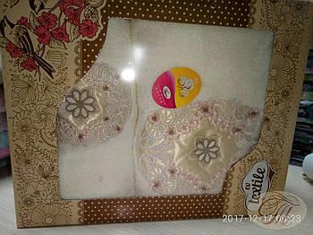 Набір махрових рушників 2 шт Зірка на молочному