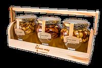 Мед подарочный набор с орехами 3 баночки