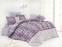 Постельное белье ранфорс Nazenin евро размер violet-lila
