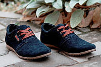 Туфли молодежные мокасины натуральная замша BX мужские темно синие кожа (Код: Т132а)