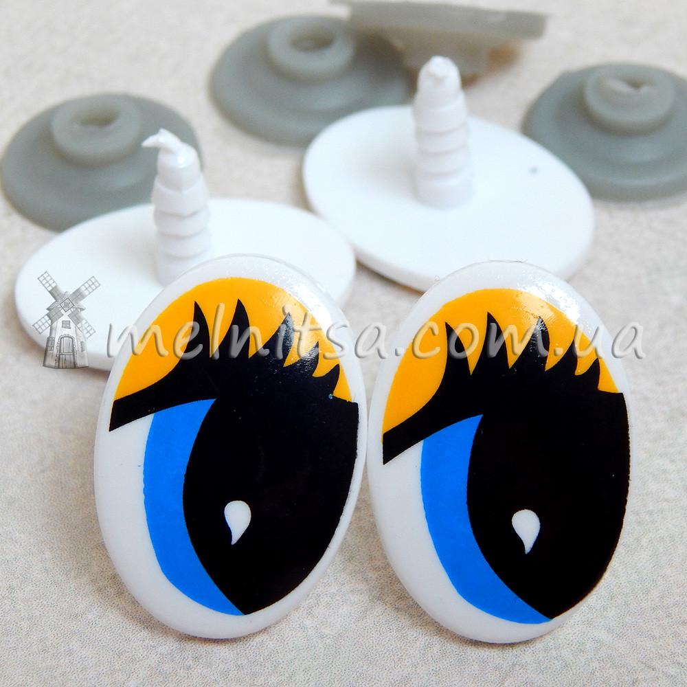 глазки для мягких игрушек нарисованные 3х2 см крепление 2 шт от
