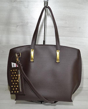 Женская сумка из кожзаменителя с кошельком коричневого цвета 54605, фото 2