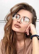 Очки  имиджевые, прозрачное стекло, не для зрения (серебрянная оправа)