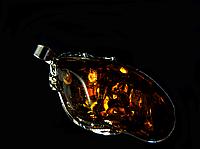 Кулон из янтарной смолы в металле,коричневый, фото 1