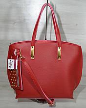 Женская сумка из кожзаменителя с кошельком красного цвета 54603