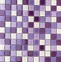 Стеклянная мозаика на сетке фиолетовая Vivacer Mix C014R