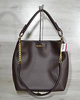Женская стильная модная сумка- цепочка коричневого цвета 54105