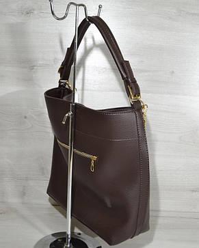 Женская стильная модная сумка- цепочка коричневого цвета 54105 , фото 2