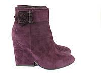 Замшевые сиреневые ботинки на широком каблуке, фото 1