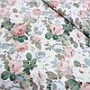 Сатин с цветами чайная роза, ширина 160 см