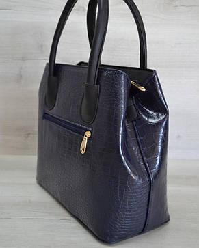 Женская стильная красивая сумка с карманом на кнопке синий крокодил 54404, фото 2