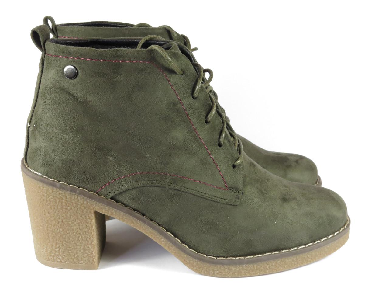 Зеленые замшевые ботиночки на среднем каблучке, фото 1