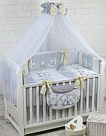 Комплект постельного белья Asik Мишки на луне серо-кремового цвета 8 предметов (8-283)