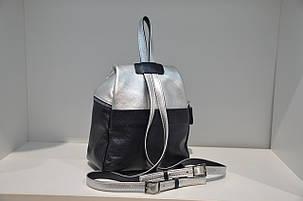 Рюкзак из натуральной кожи синий+серебро 0103-654, фото 2