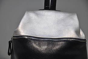 Рюкзак из натуральной кожи синий+серебро 0103-654, фото 3