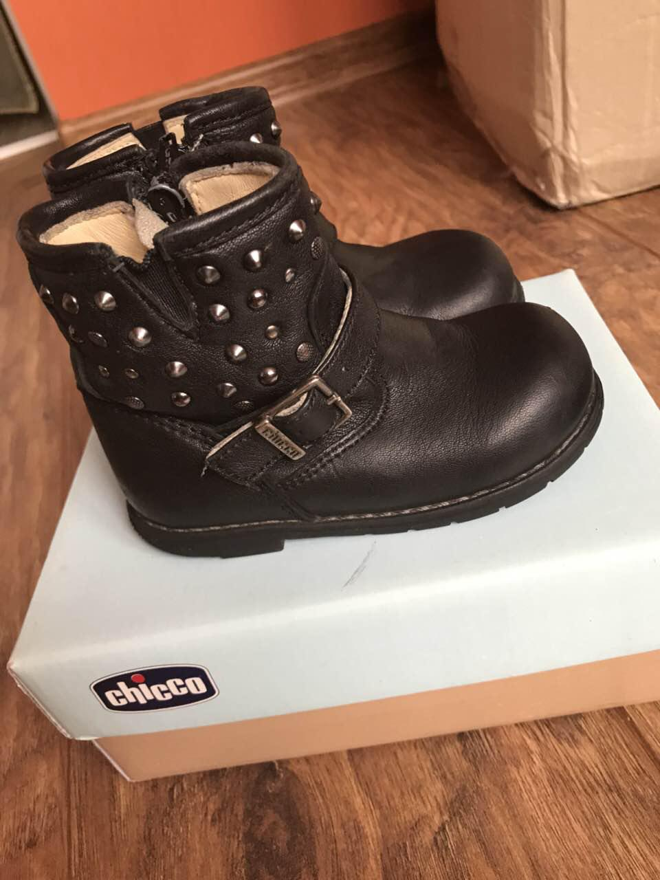 Кожаные сапоги для девочки Chicco б/у