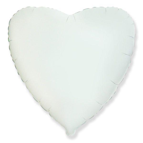 """Фольгированные шары без рисунка  18"""" сердце белое (FlexMetal)"""