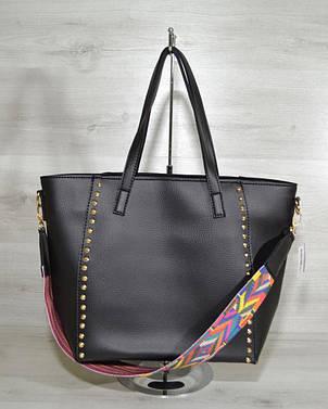 Женская стильная яркая Сумка – яркий ремень черного цвета 54304, фото 2