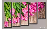 """Модульная картина на холсте  """"Розовые тюльпаны"""" (HAB-062)"""