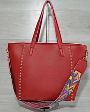 Женская стильная яркая Сумка – яркий ремень красного цвета 54302