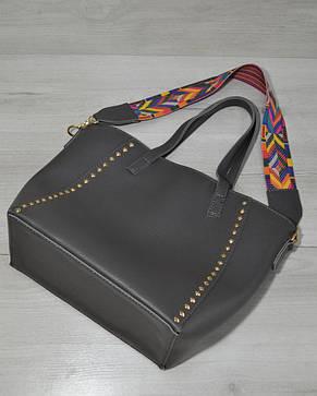 Женская стильная яркая Сумка – яркий ремень серого цвета 54301, фото 2